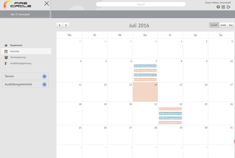 Dienstplanertellung, Kalenderübersicht Feuerwehrdienst, Ausbildungen