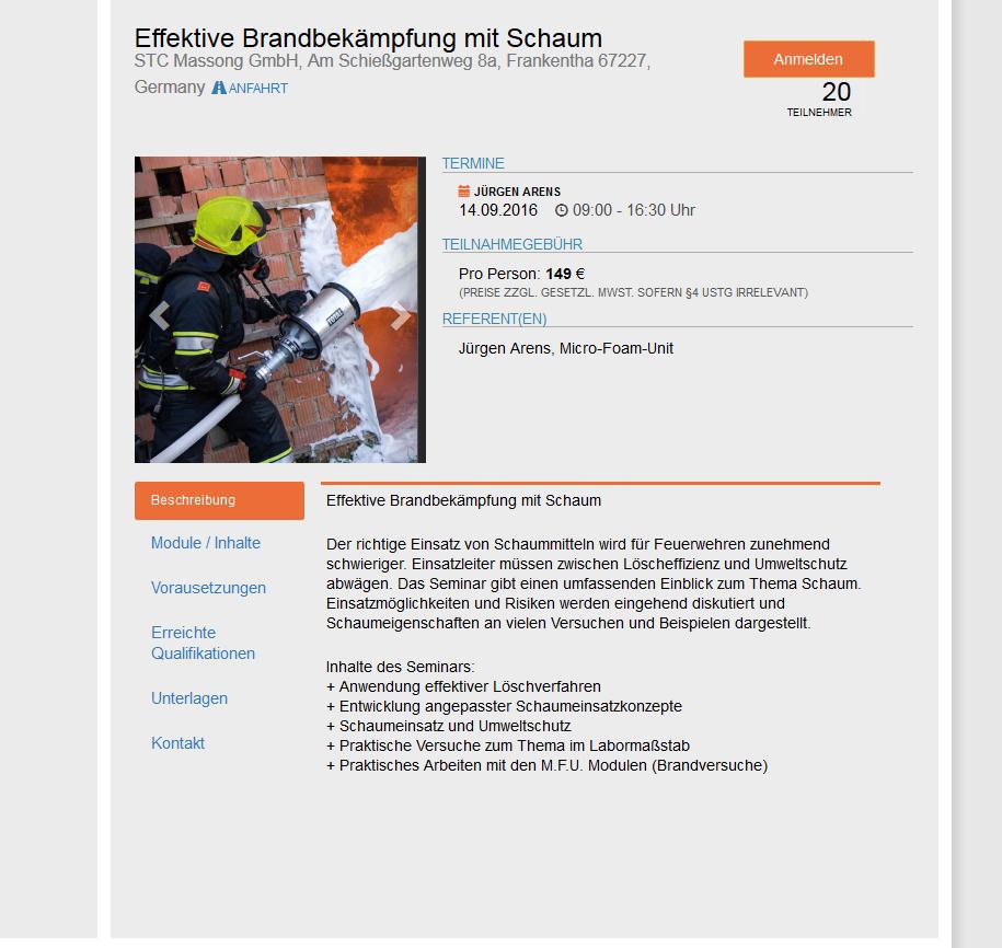 Lehrgangsbeschreibung für Seminare und Download von Dokumenten